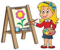 Girl painting on canvas 1 - picture illustration.