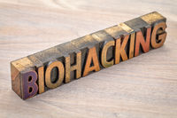 biohacking word abstract in wood type