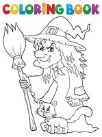 Coloring book witch with cat and broom - picture illustration.