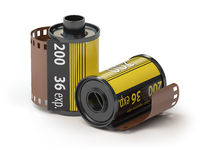 35mm camera photo film canisters isolateed on white.