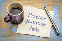 Practice gratitude daily - reminder on napkin