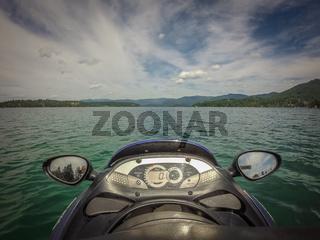on a jet ski on a lake in the coeur d'alene city lake  idaho