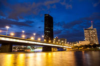 Beautiful Vienna skyline on the Danube river at night