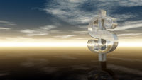 dollarzeichen aus glas unter wolkenhimmel - 3d illustration