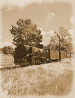 historical Steam Train on Ruegen,baltic Sea,Mecklenburg western Pomerania,Germany