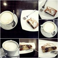 Collage of coffe and cake on table
