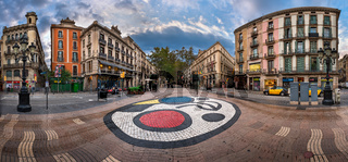 Panorama of La Rambla Street with Joan Miro Mosaic on the Floor, Barcelona, Catalonia, Spain