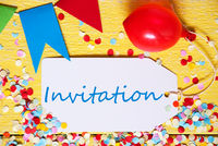 Party Label, Red Balloon, Text Invitation