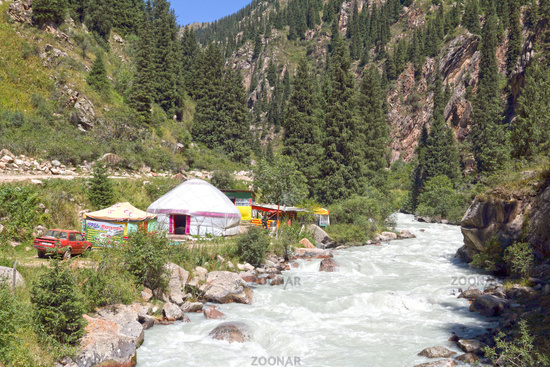 Yurt camp, Grigorievka gorge, Kungei Alatoo Mountains, Kyrgyzstan