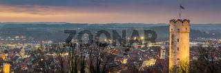 Sonnenuntergang ueber Ravensburg | Format 3:1