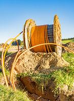 Fiber optic cable roll for broadband internet