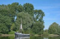 Island of Grafenwerth at Rhine River in Bad Honnef,North Rhine Westphalia,Germany