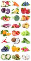 Obst und Gemüse Früchte Apfel Orange Karotten Kiwi frische Collage Freisteller freigestellt isoliert
