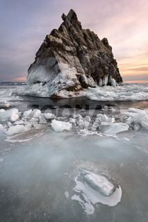 Baikal Lake Ice and Island Elenka at Sunset, Baikal Lake, Russia