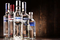 Bottles of assorted global vodka brands
