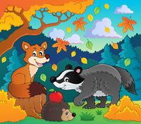 Forest wildlife theme image 1 - picture illustration.