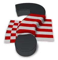 flagge von bremen und fragezeichen - 3d illustration
