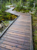 Wooden boardwalk at Morraine Lake, Banff National Park