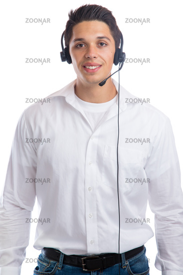 Junger Mann mit Headset Telefon Call Center Agent Business Freisteller