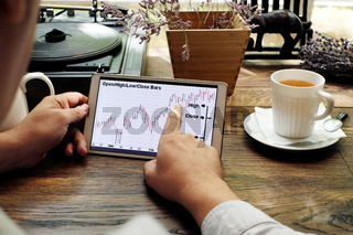 Tablet computer with stock analytics and abstract graphs