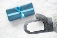 Turquoise Gift, Glove, Copy Space
