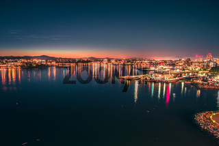 victoria british columbia city lights view from cruise ship