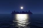 Mond über Insel (Terragen)