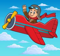 Pilot in retro airplane theme image 3 - picture illustration.