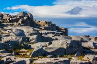 Huge stones on a plateau near falls Dettifoss