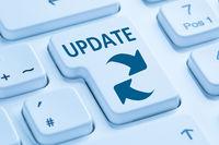 Computer Software Update aktualisieren Schutz vor Virus Tastatur blau