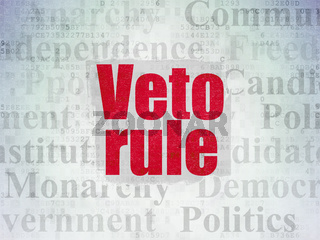 Political concept: Veto Rule on Digital Data Paper background