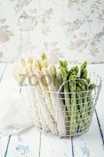 Green and White Asparagus in Basket