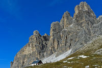 Church beneath the South face of the Three Peaks Mountains, Dolomites, Italy