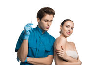 Plastic surgeon shot with a beautiful girl