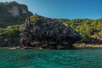 Limestone around Phi Phi island during sunny summer day