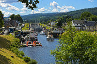Cascade of locks in the Caledonian Canal, Fort Augustus, Scotland, Great Britain