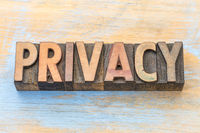 privacy word abstract in wood type