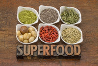 superfood collection with word in wood type