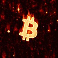 burning bitcoin sign