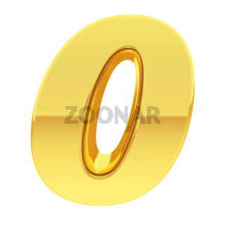 Gold number 0 with gradient reflections isolated on white. High resolution 3D image