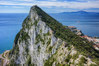 Rock of Gibraltar and Gibraltar Strait on south coast of Iberian Peninsula.