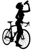 Silhouette of a naked woman with a bicycle, drinking a water. Studio shot, isolated on a white background