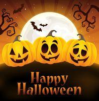 Happy Halloween sign with pumpkins 4