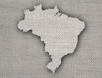 Karte von Brasilien auf altem Leinen - Map of Brazil on old linen
