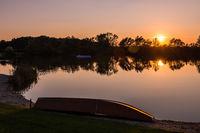 boat on the bath lake in Rauchwart / southern burgenland