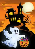Halloween ghost near haunted castle - picture illustration.