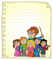 Notebook page with school class - picture illustration.