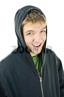 Young man in hoodie smiling