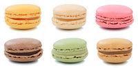 Collage Macarons Macaroons Kekse Nachtisch Dessert aus Frankreich Freisteller