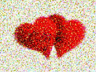 Rotes Doppel Herz, Valentinstag, tupfen